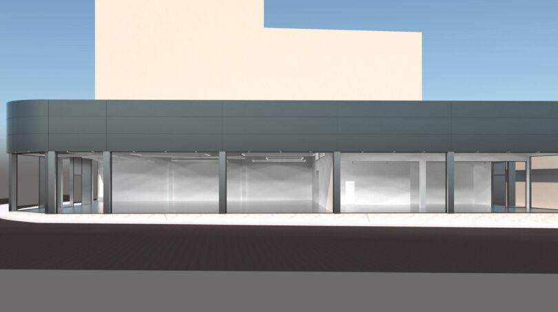 Seitenansicht mit Glasfront